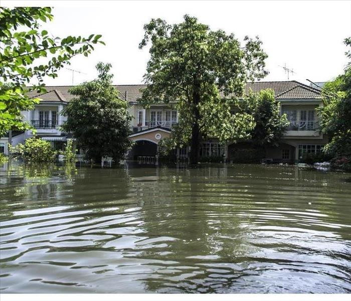 Flooded home with rising water